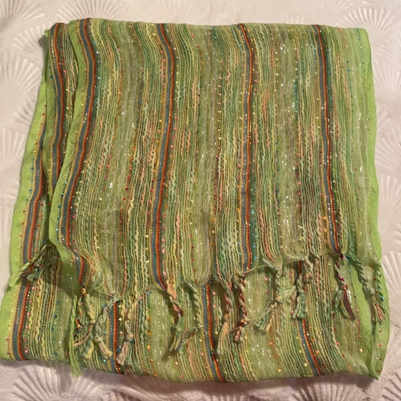 NWOT Green multi colored striped summer scarf